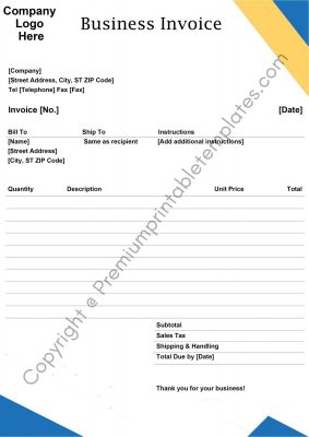 Printable Business Invoice