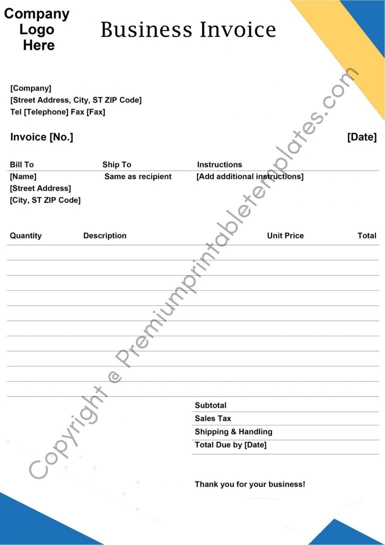 Printable Business Invoice