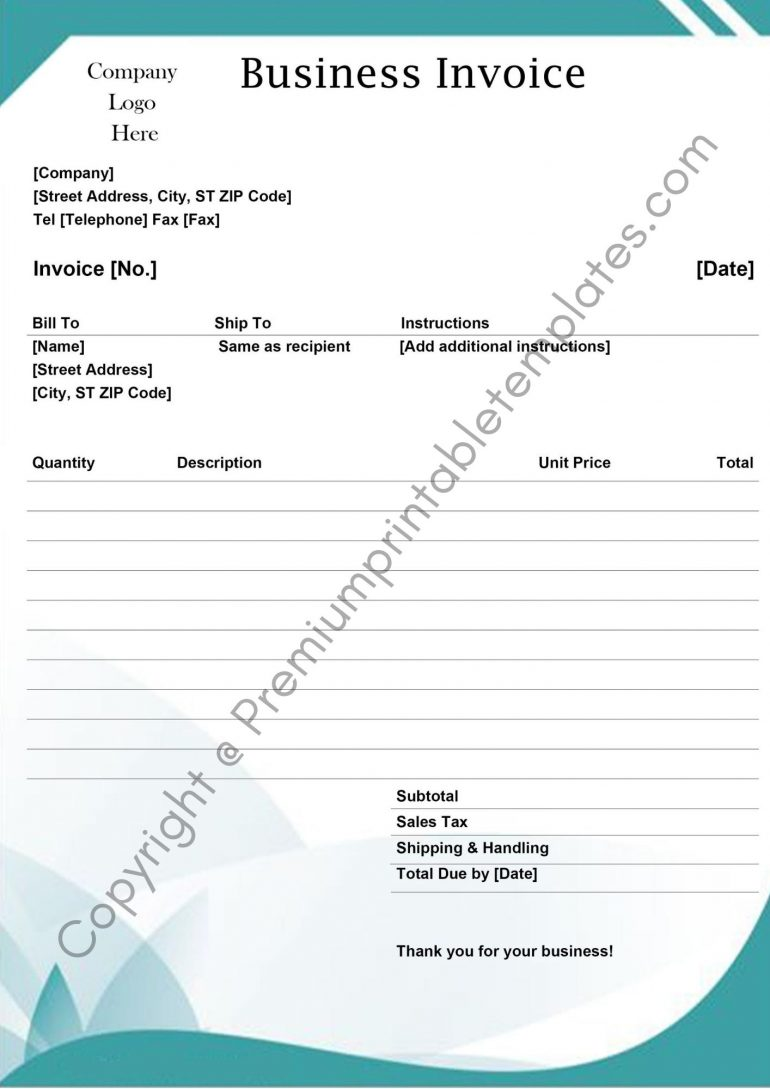 Printable Business Invoice Template