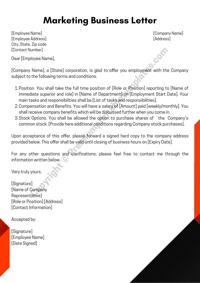 Printable Business Letter for Marketing