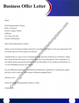 Printable Business Offer Letter
