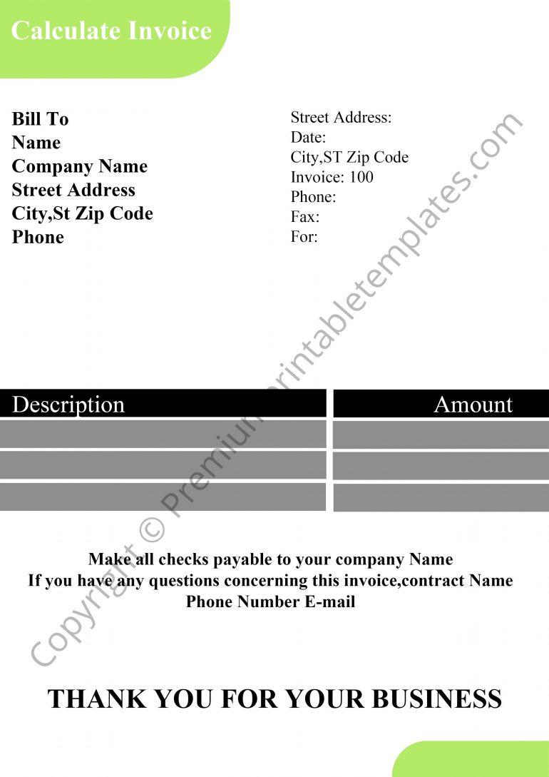 Printable Calculate Invoice