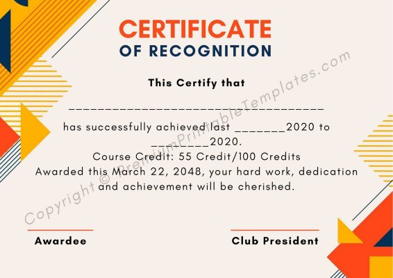 Printable Certificate of Recognition