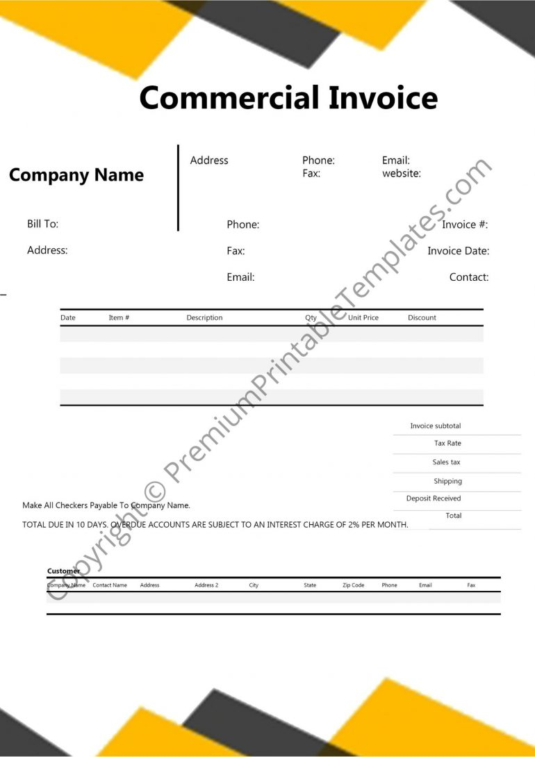 Printable Commercial Invoice
