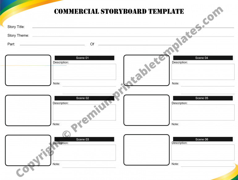 Printable Commercial Storyboard