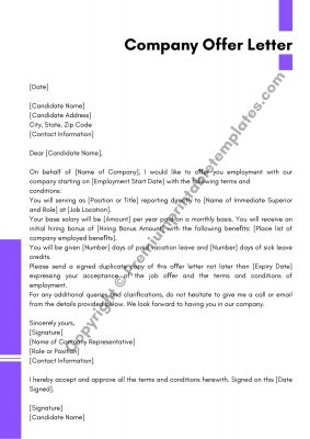 Printable Company Offer Letter