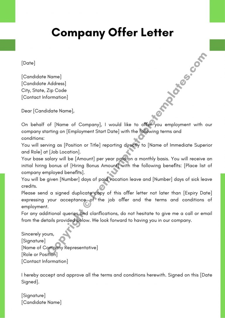 Printable Company Offer Letter Template