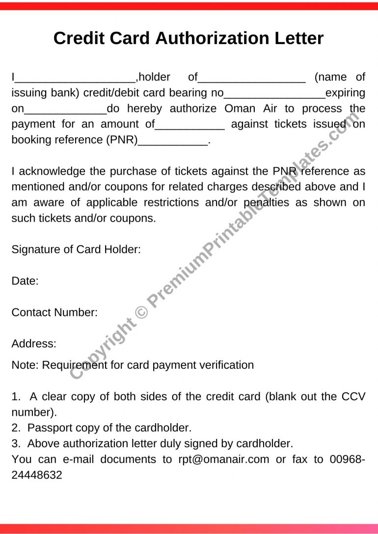 Printable Credit Card Authorization Letter
