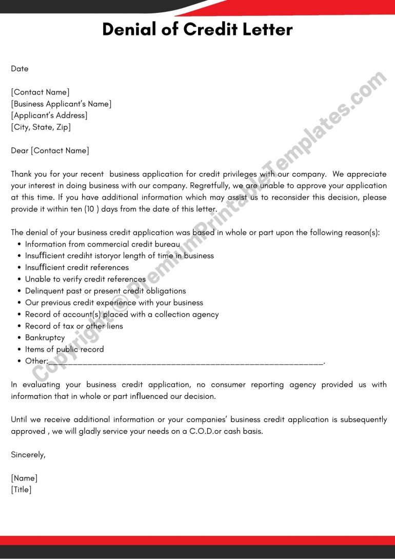 Printable Credit Denial Letter