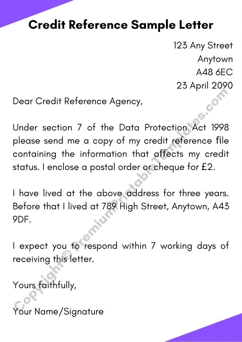 Printable Credit Reference Letter
