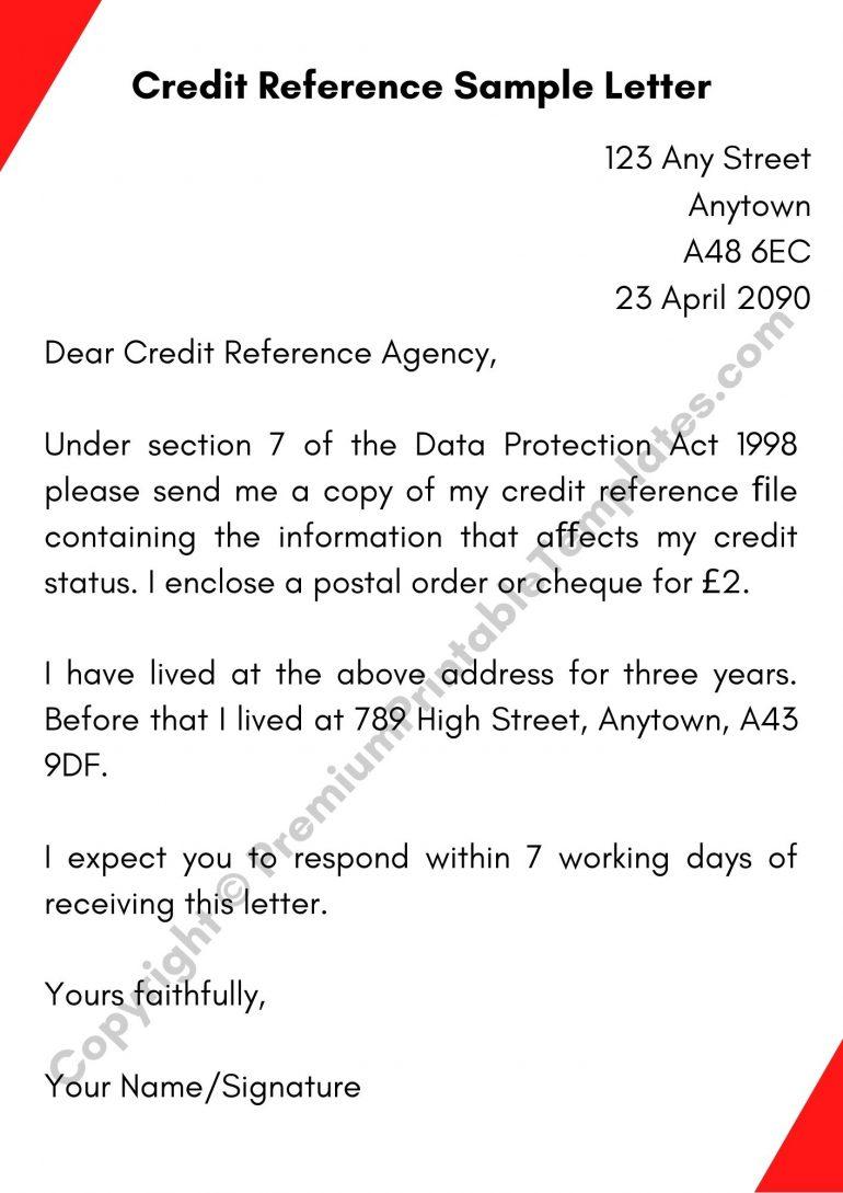 Printable Credit Reference Sample Letter
