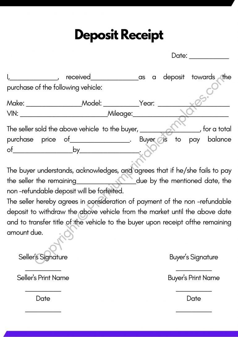 Printable Deposit Receipt
