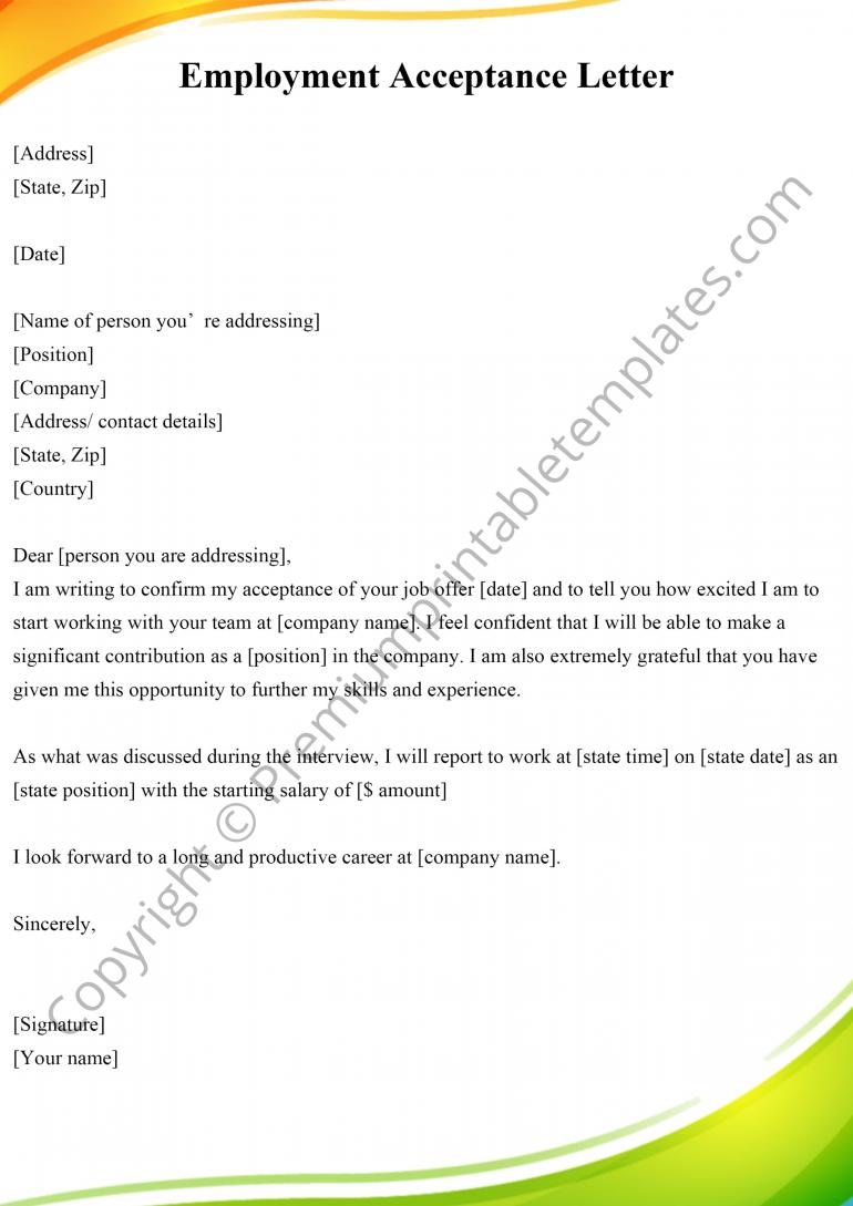 Printable Employment Acceptance Letter