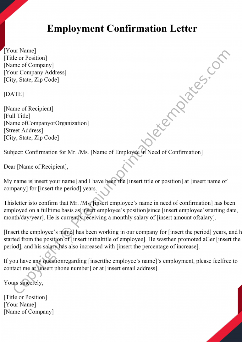 Printable Employment Confirmation Letter