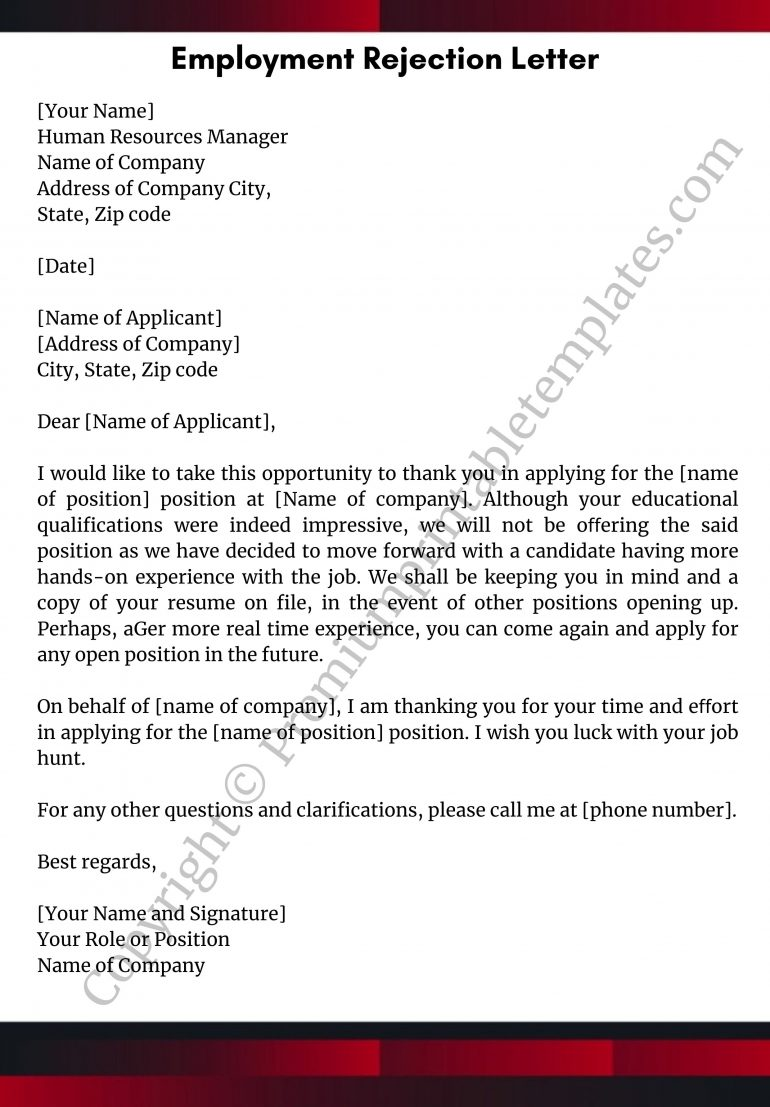 Printable Employment Rejection Letter