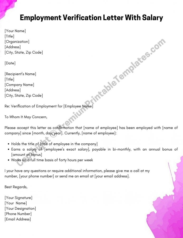 Printable Employment Verification Letter With Salary