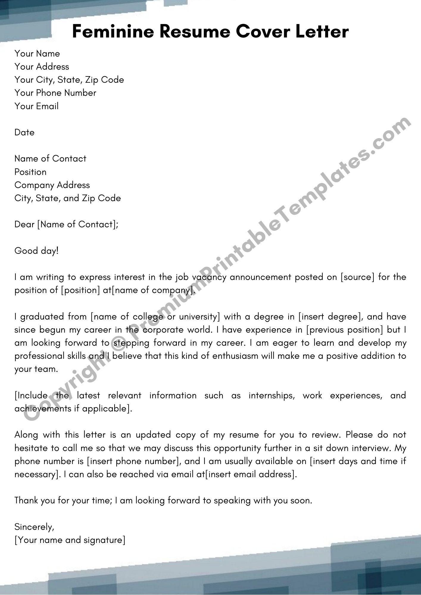 Feminine Resume Cover Letter Template Pack Of 5 Premium Printable Templates