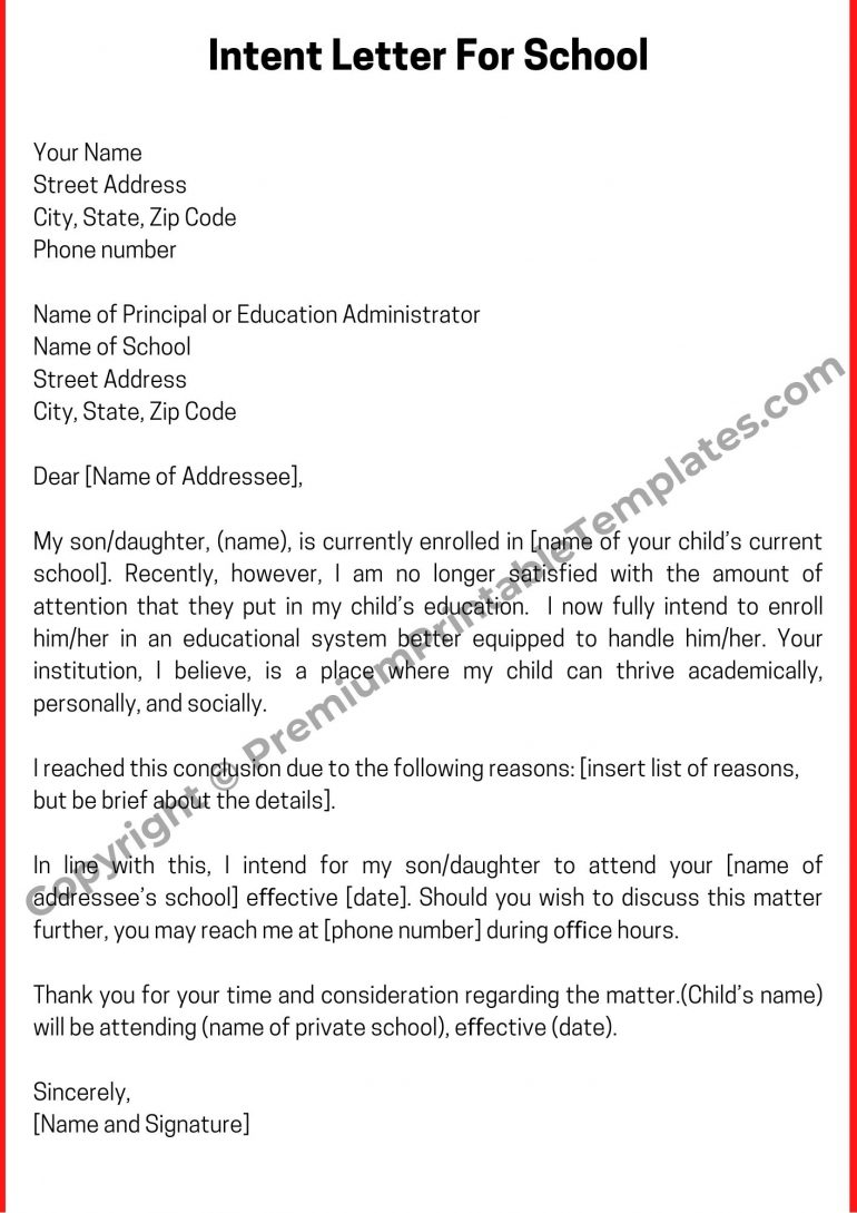 Printable Intent Letter For School