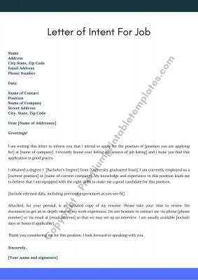 Printable Letter of Intent