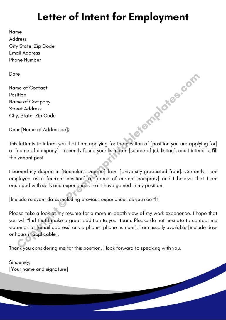 Printable Letter of Intent for Employment