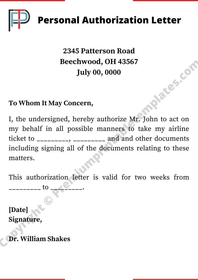 Printable Personal Authorization Letter