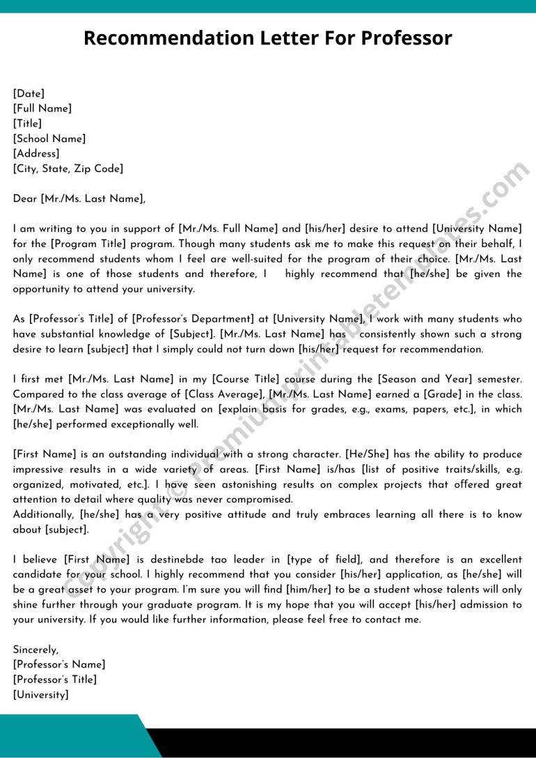 Printable Recommendation Letter For Professor