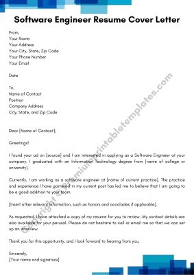 Printable Resume Cover Letter For Software Engineer