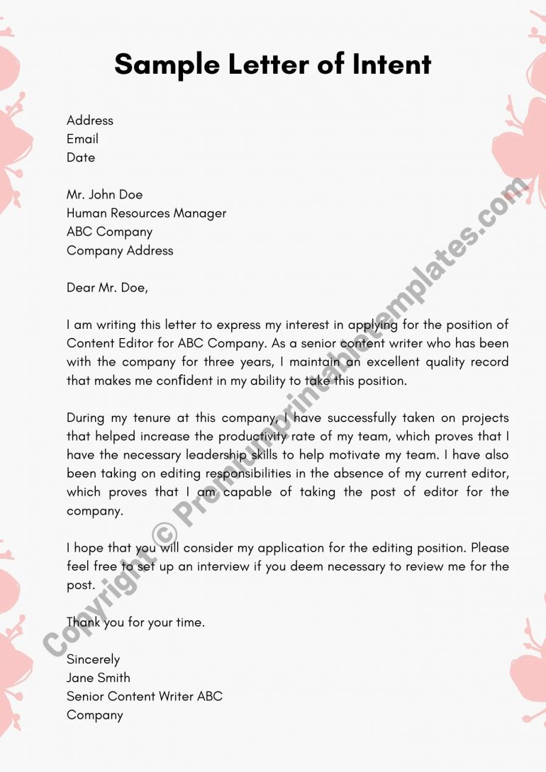 Printable Sample Letter of Intent