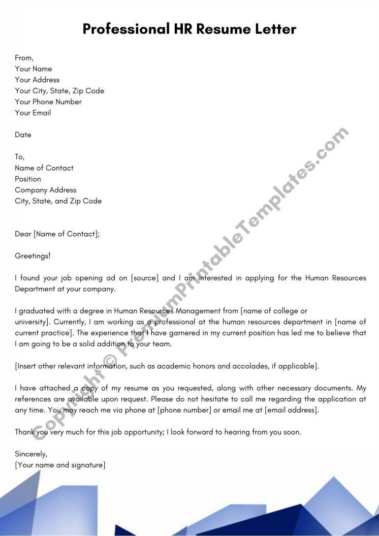 Professional HR Resume Letter