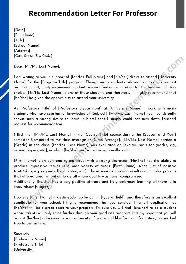 Recommendation Letter For Professor PDF