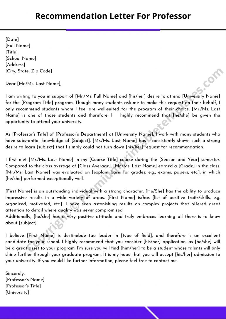 Recommendation Letter For Professor Template