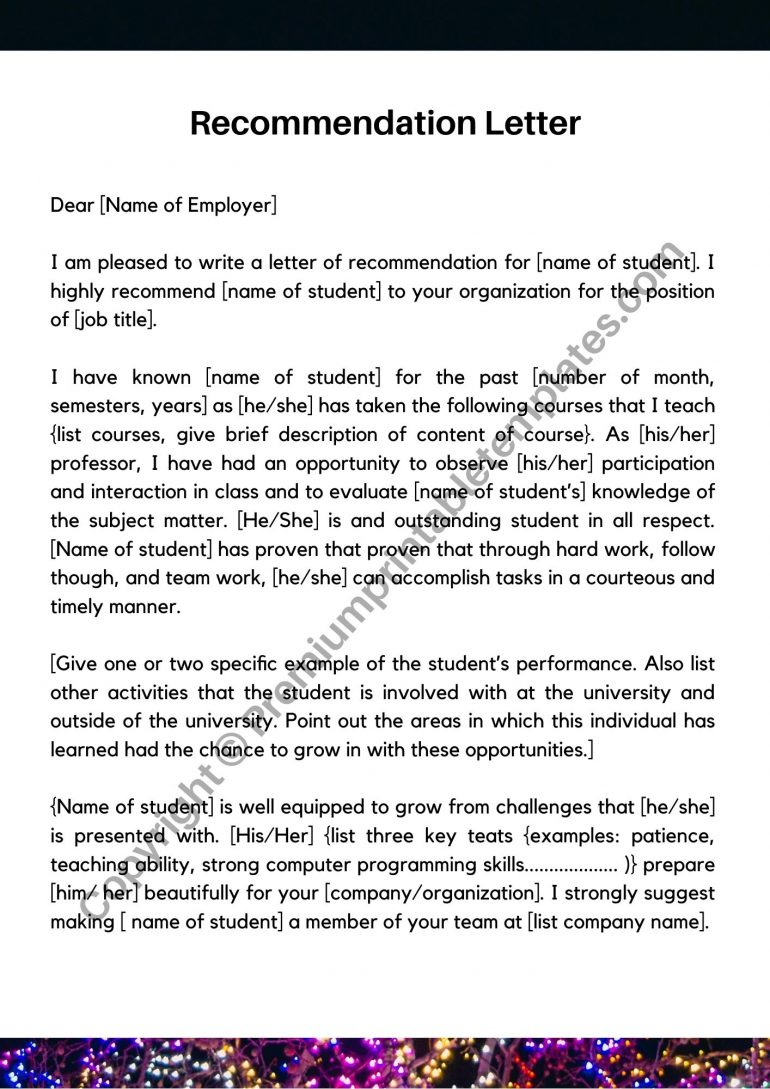 Recommendation Letter Sample