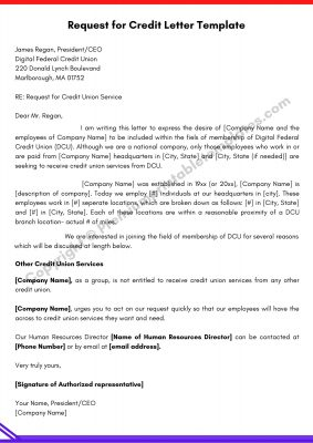 Request for Credit Letter PDF