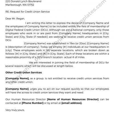 Request for Credit Letter Template