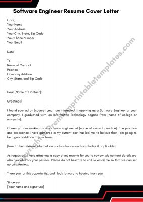 Resume Cover Letter For Software Engineer PDF