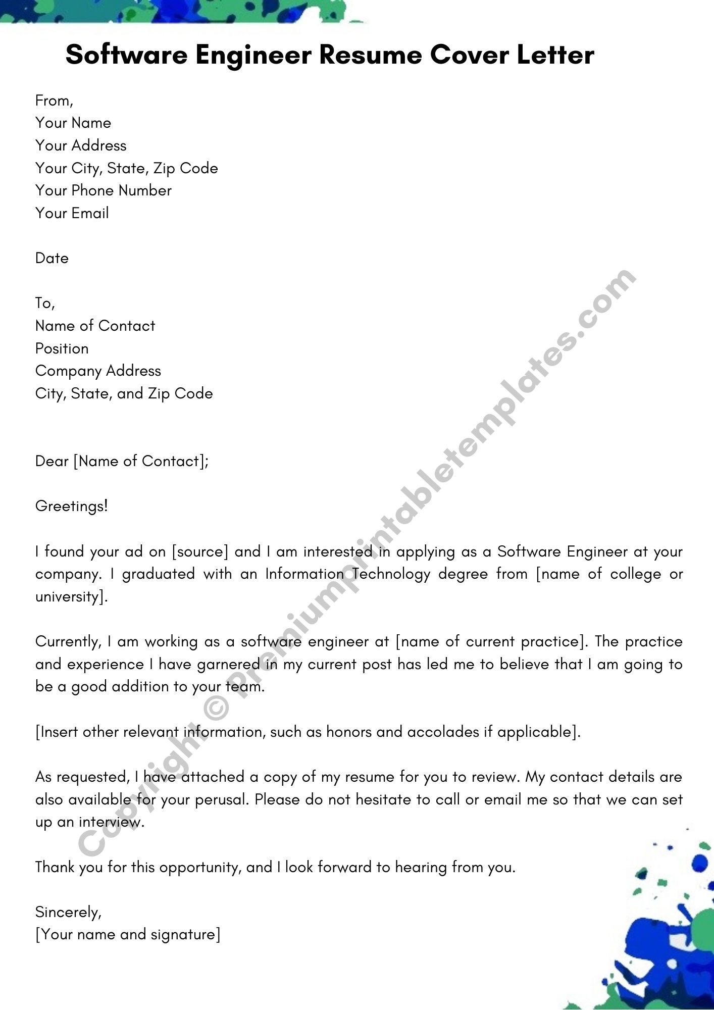 Greetings In Cover Letter from premiumprintabletemplates.com