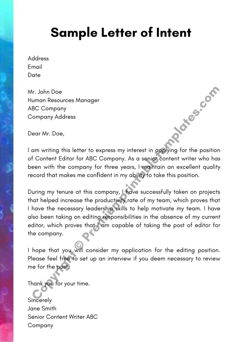 Sample Letter of Intent PDF