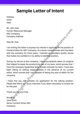 Sample Letter of Intent Word