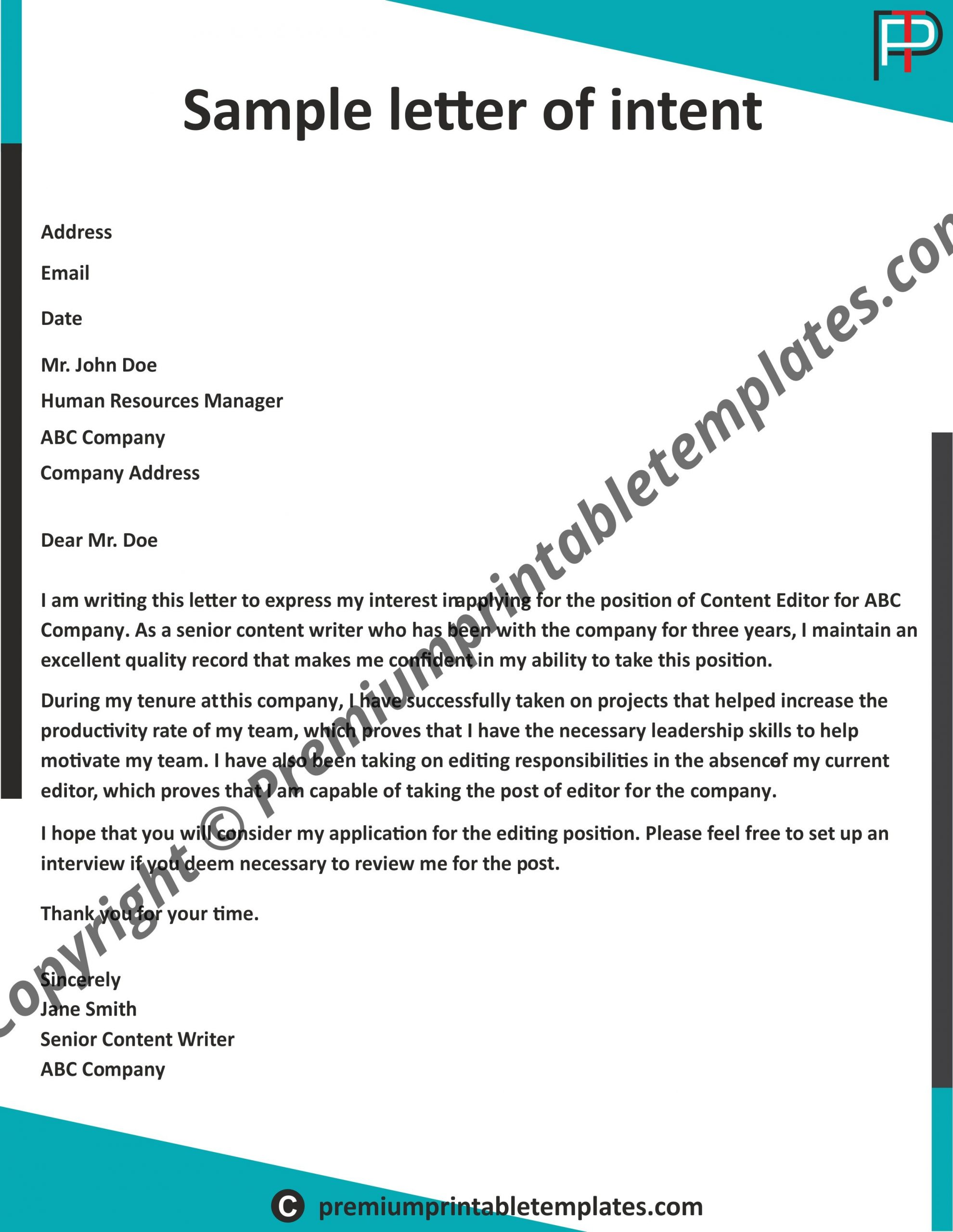 Letter Of Intent Templates from premiumprintabletemplates.com