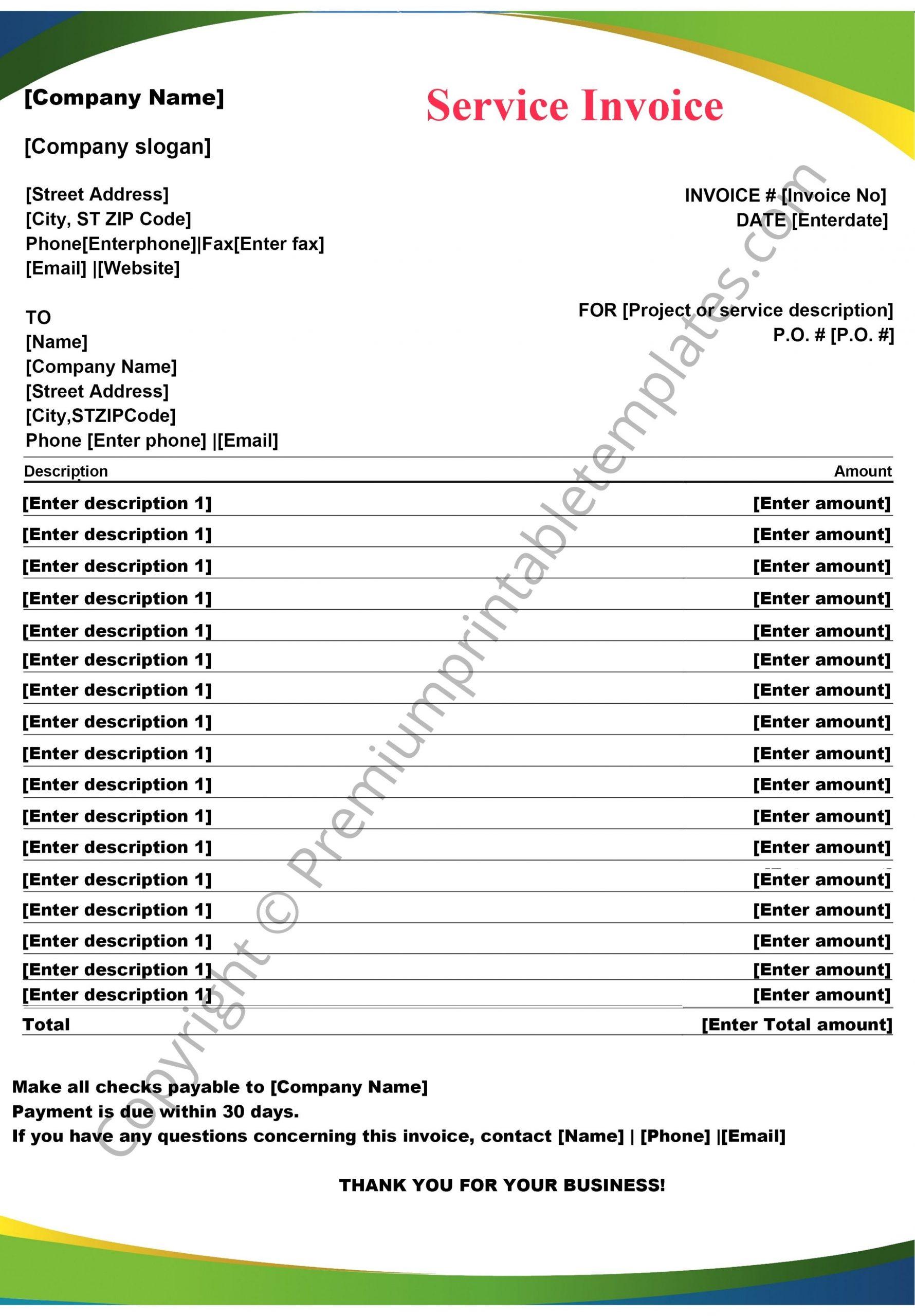 Service Invoice Template Invoice Pack Of 5 Premium Printable Templates