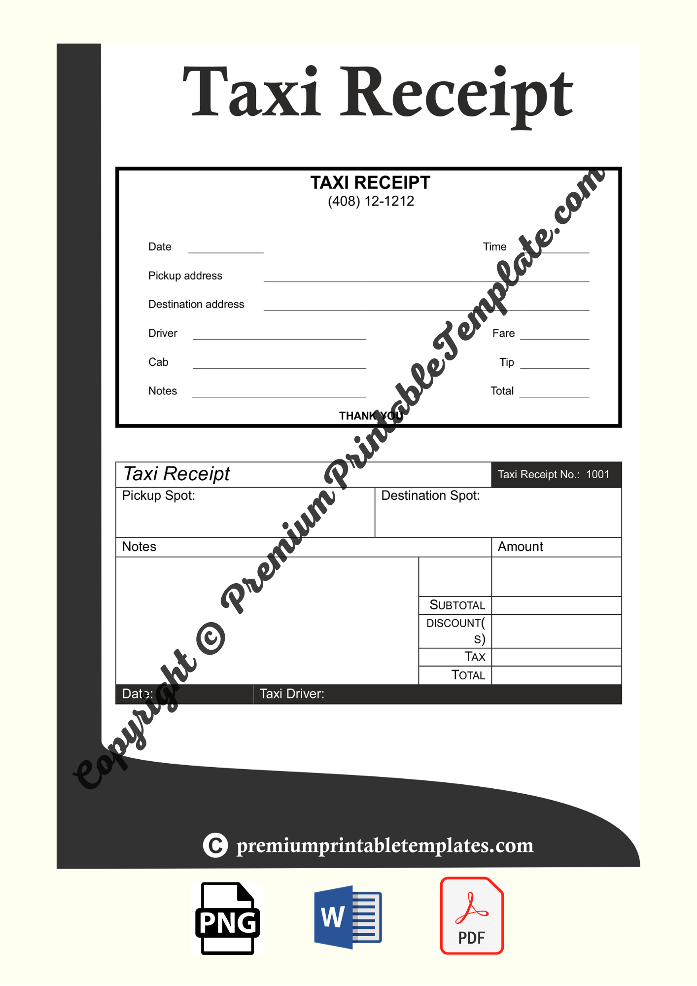 Taxi Receipt Template Pack Of 5 Premium Printable Templates