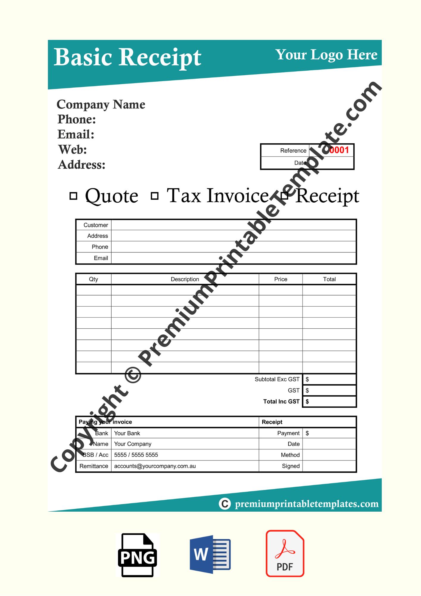 basic receipt template
