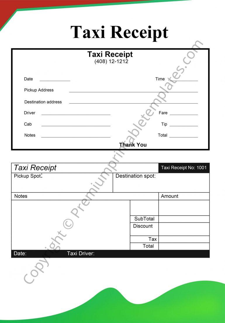 blank taxi receipt
