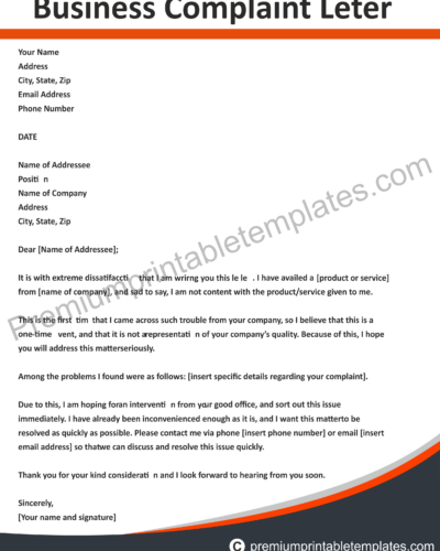 Business Complaint Letter | Business Complaint Letter Premium Printable Templates