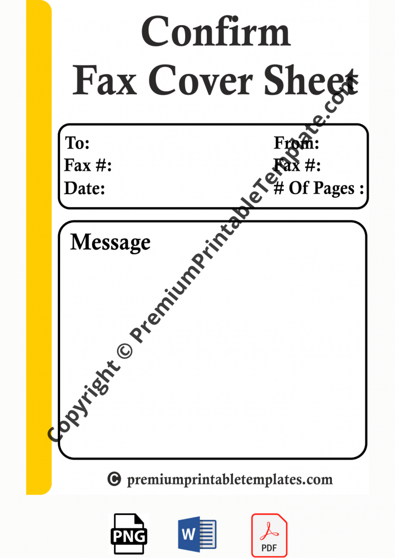 confirm fax cover sheet
