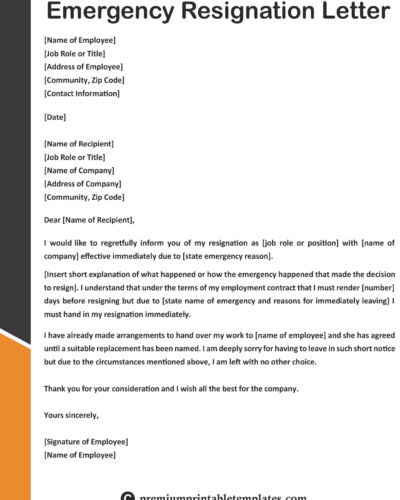 Immediate Resignation Letter Due To Illness Premium Printable