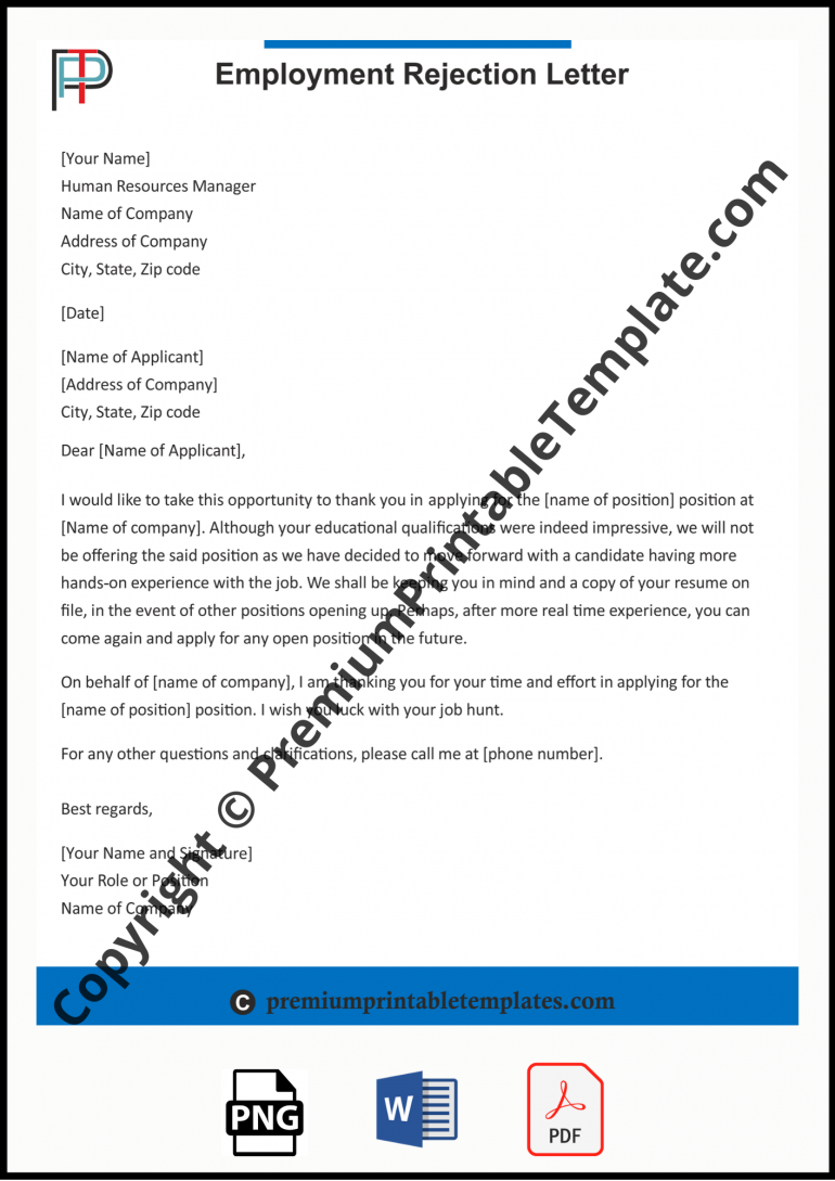 employment rejection letter