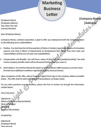marketing business letter