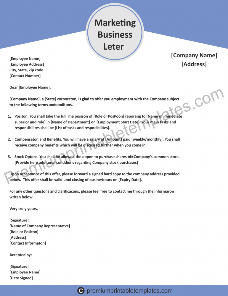 printable marketing business letter