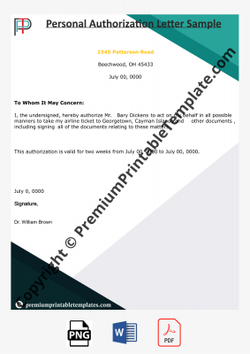 Personal Authorization Letter
